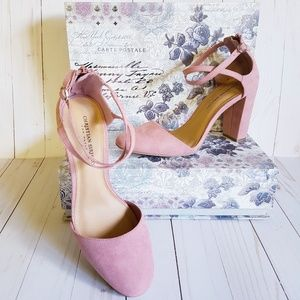 Pink Faux Suede Chunky Heel